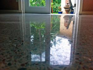 Beautiful reflection dry terrazzo