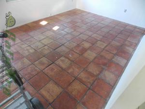 Saltillo Tile on a terrazzo floor