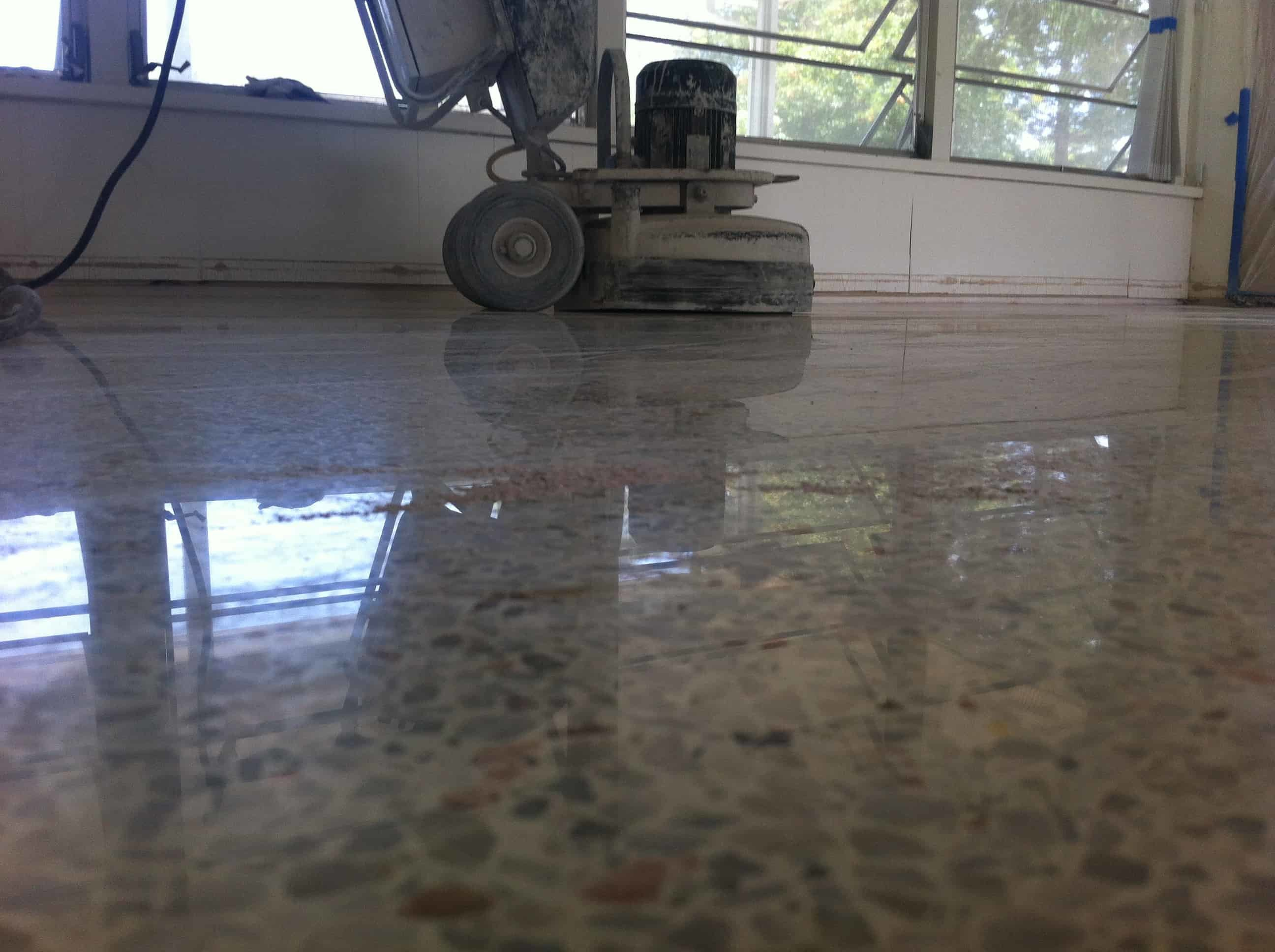 terrazzo floor during polishing