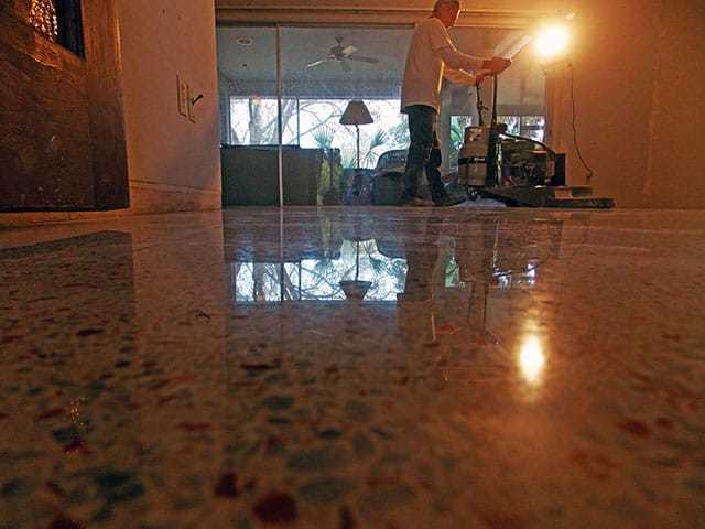 This terrazzo floor was diamond polished in Cape Coral