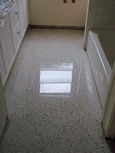 Terrazzo in bathroom after restoration