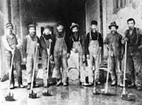 The history of terrazzo is an old art. These workers are from the early 20th century.